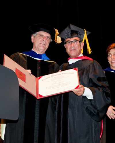 Receiving Honorary Degree, Doctor of Humanities from Professor Gregory Warden Presidend, Franklin University, Lugano, Switzerland May 2015