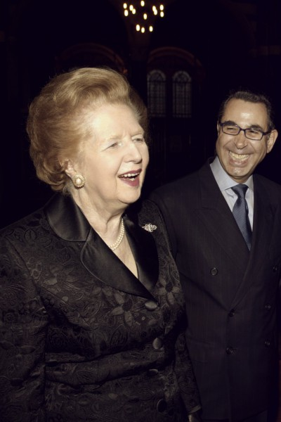 Receiving the honour, Knight Commander of the Royal Order of Francis I (KCFO) along with Baroness Thatcher, 2003.