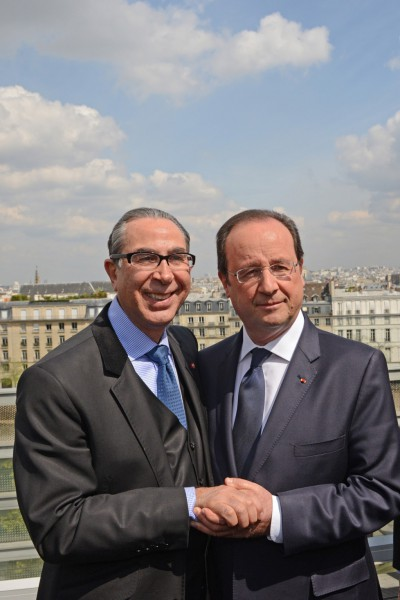 With President of France - François Hollande, on the occasion of the official opening of 'Hajj: The Pilgrimage to Mecca' - 22 April 2014
