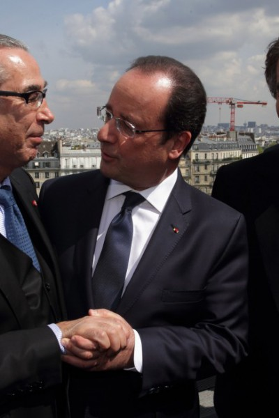 With President of France - François Hollande and Jack Lang President Institut du Monde Arabe Paris, on the occasion of the official opening of 'Hajj: The Pilgrimage to Mecca' - 22nd April 2014