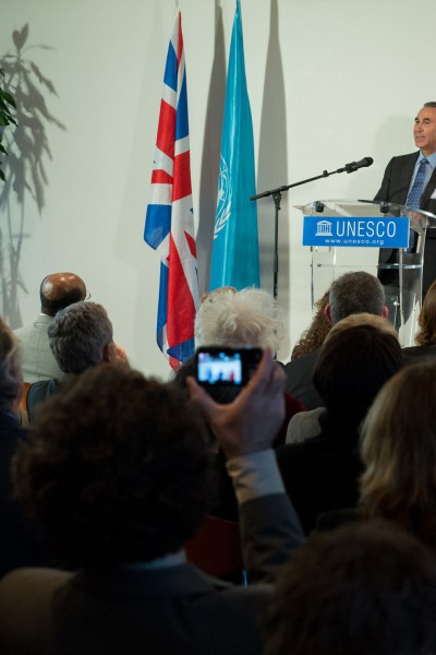 Prof. Khalili speaking at the occasion of his dasignation as a UNESCO Goodwill Ambassador. Standing on the right - UNESCO Director General Irina Bokova - October 2012, Paris