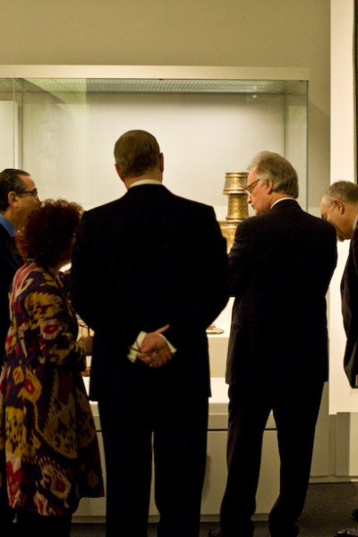 Prof. Khalili touring the exhibition with HRH Prince Andrew and guests - January 2012