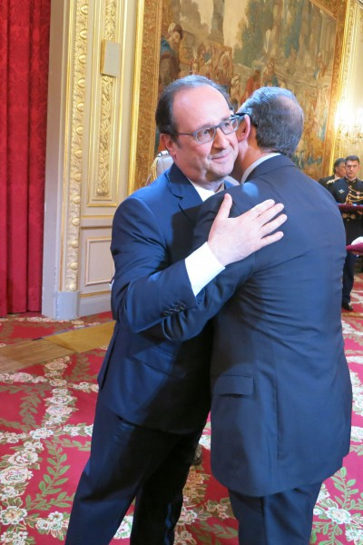 French President Francois Hollande Awarding Sir David the rank of officier in the Ordre national de la Légion d'Honneur at the Elysée Palace, April 2016