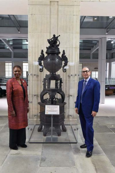 In front of a gift given by Professor Khalili to SOAS in honour of Baroness Valerie Amos, Director SOAS University of London