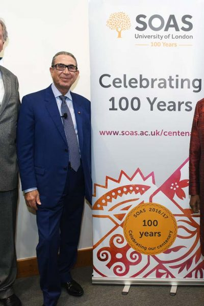 Professor Sir Nasser D. Khalili lectures at SOAS on the preservation of history through art collecting. Photo with Baroness Valerie Amos, Director SOAS University of London and Scott Redford, Nasser D Khalili Professor of Islamic Art and Archaeology, SOAS University of London