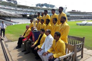 Professor Khalili and Baroness Scotland with the Vatican XI cricket team at Lords