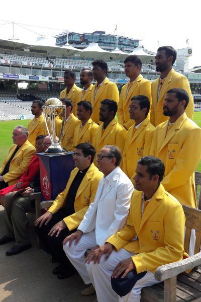 Sir David and Baroness Scotland with the Vatican XI cricket team at Lords