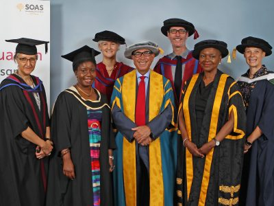Sir David with Baroness Valerie Amos, Director of SOAS, and other distinguished members of the procession.