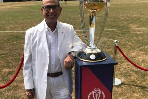 Professor Khalili with the Peace at the Crease Cricket Cup
