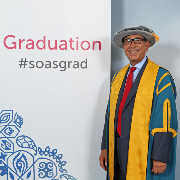 As Honorary Fellow of SOAS, Sir David presides over the SOAS Graduation Ceremony, giving the opening address to the class of 2018