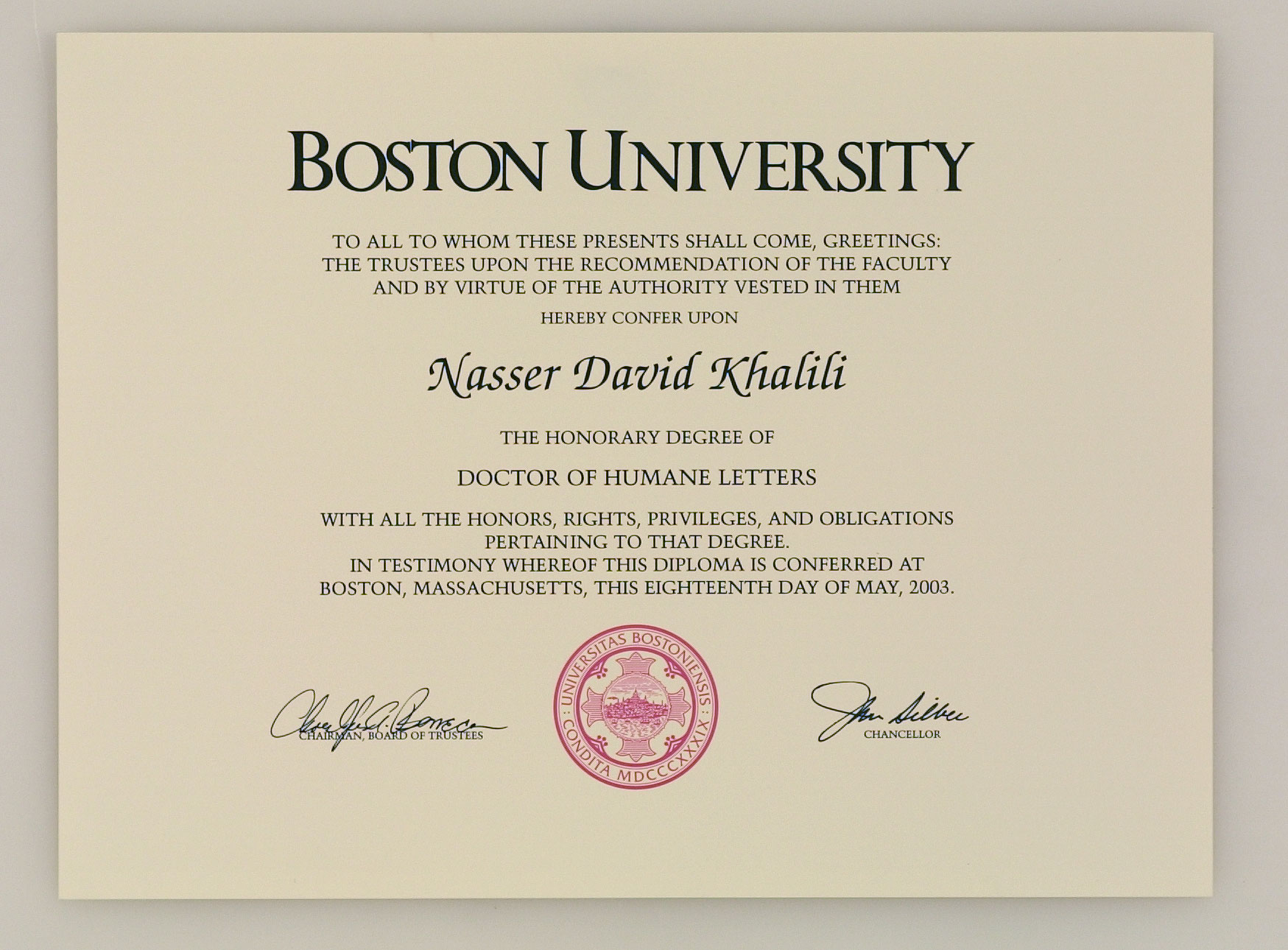 Honorary Degree Doctor of Humane Letters, Boston University