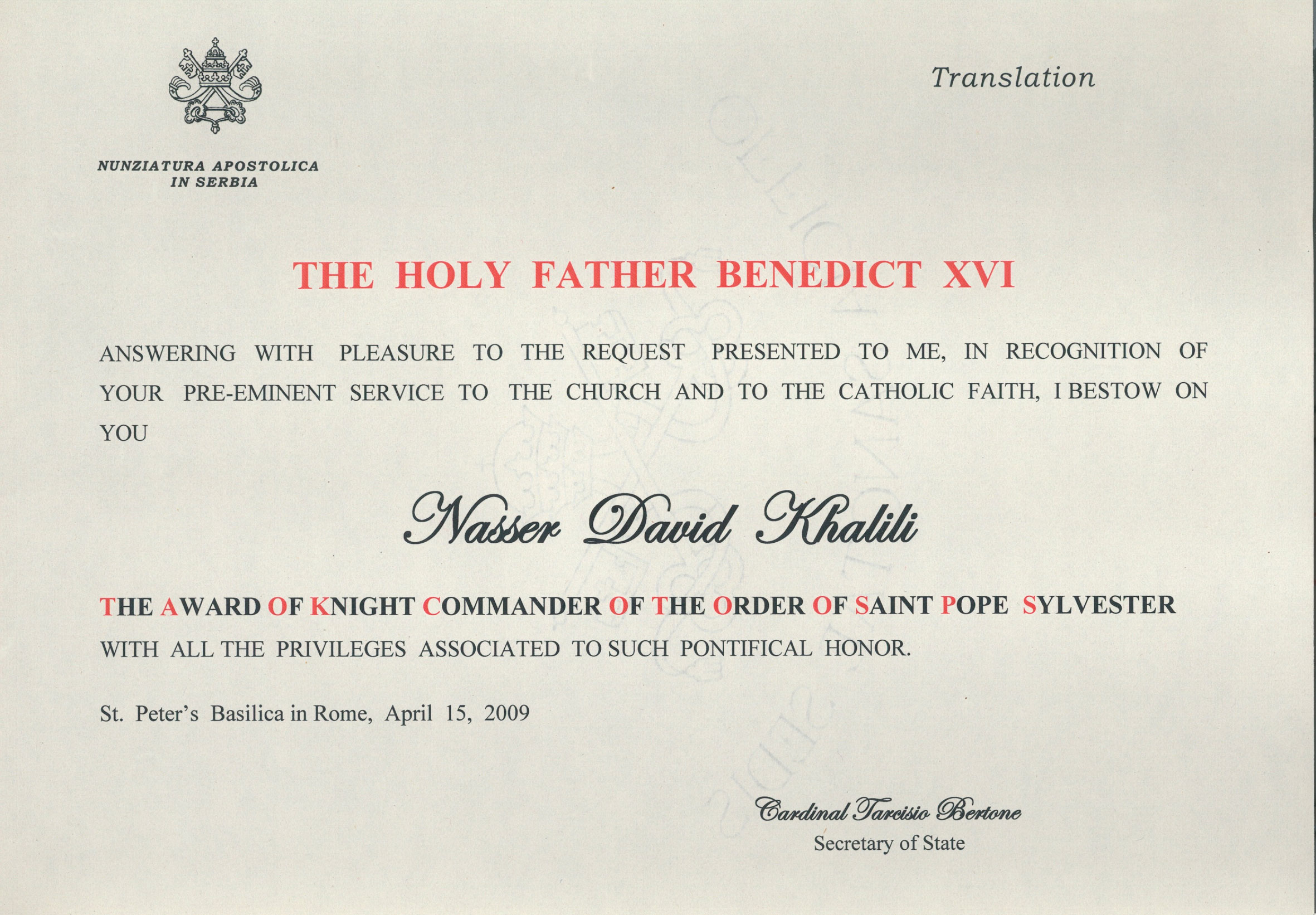 Knight Commander of the Pontifical Equestrian Order of St Sylvester (KCSS)
