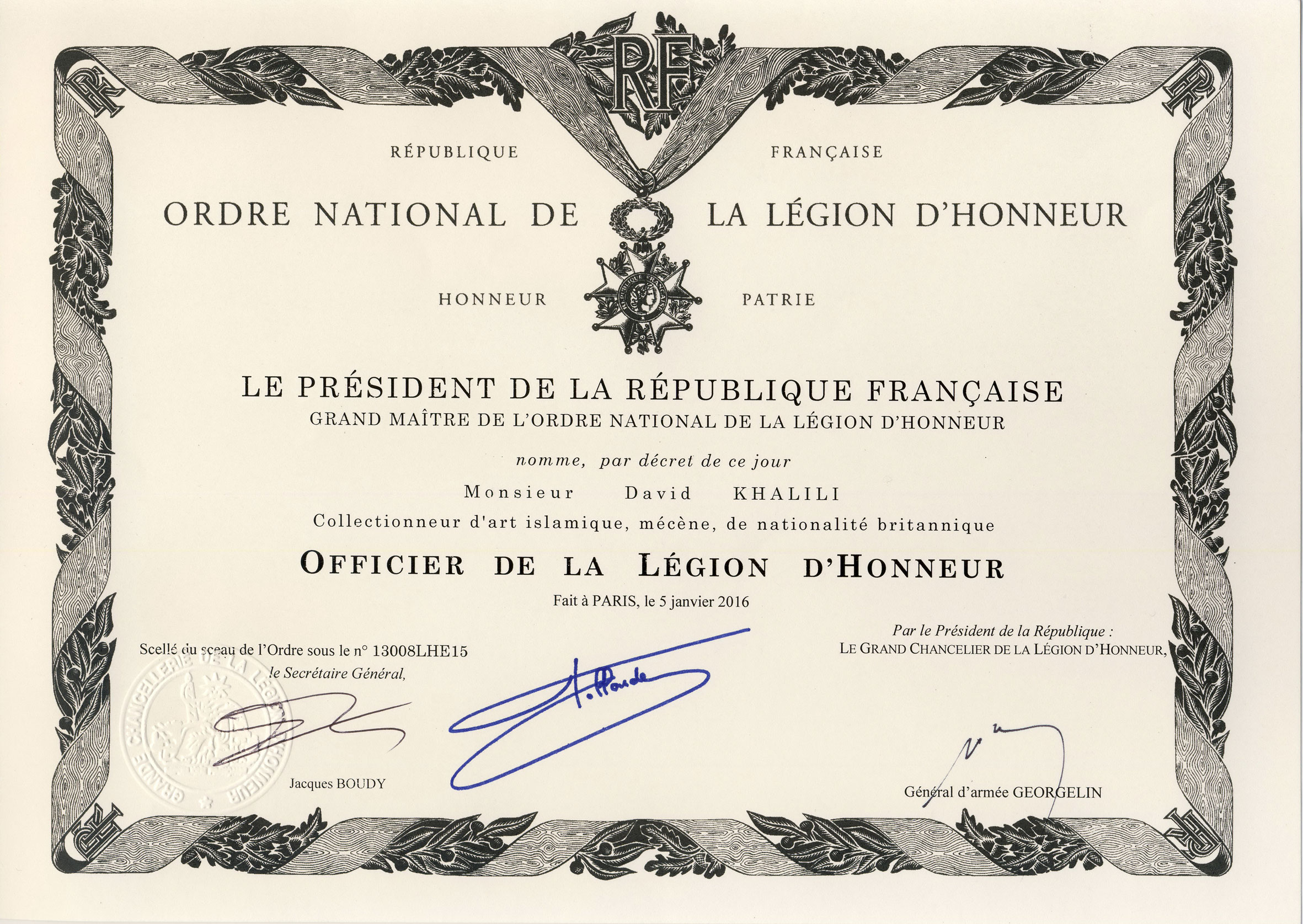 Officier in the Ordre national de la Légion d'Honneur