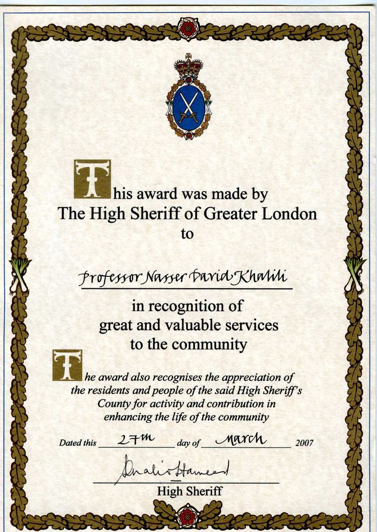 High Sheriff of Greater London Award