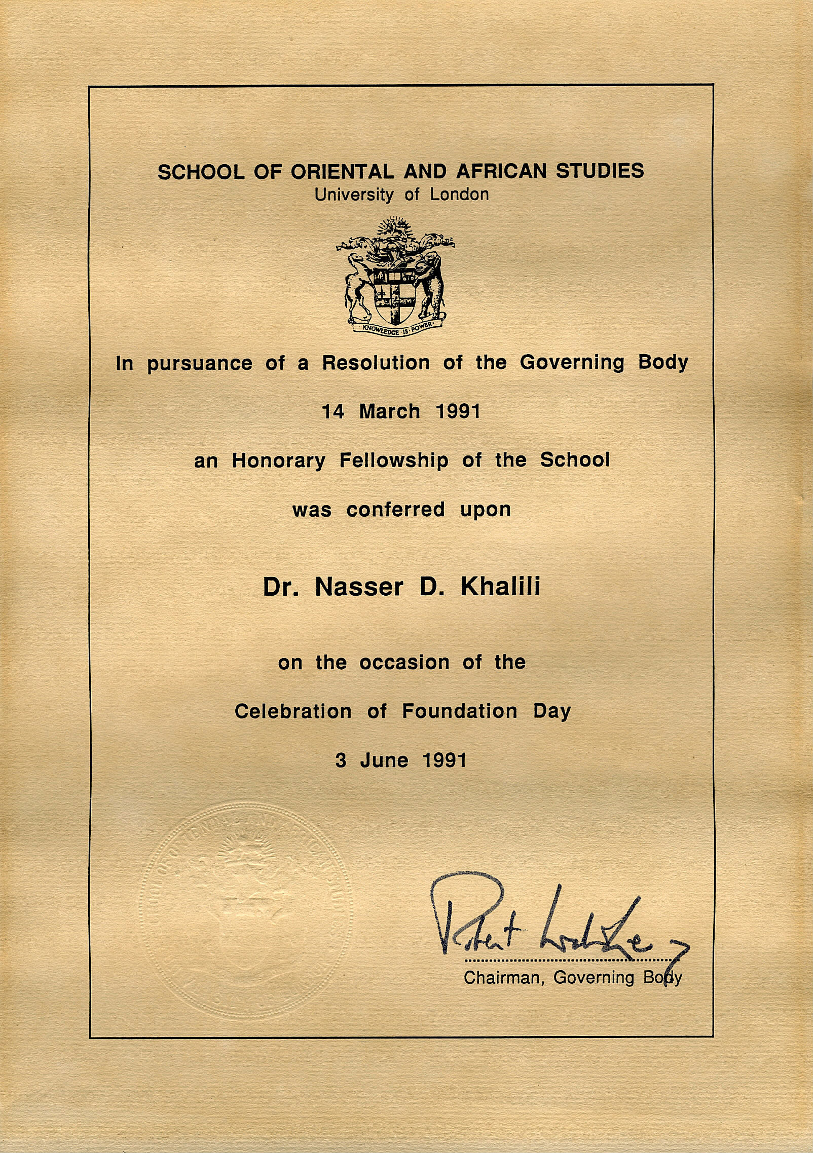 Honorary Fellow, School of Oriental and African Studies, University of London